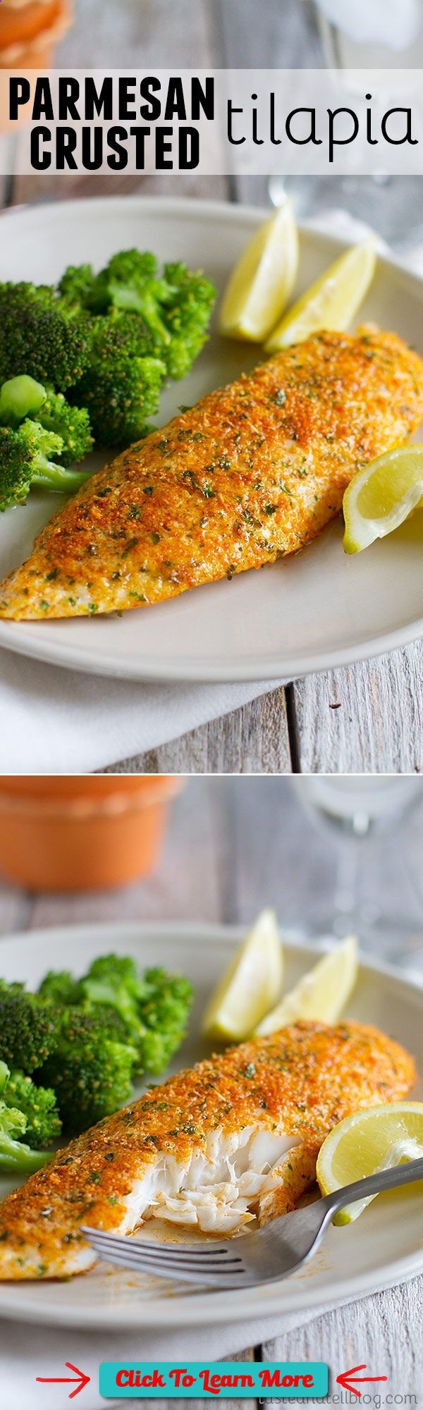 #FastestWayToLoseWeight by EATING, Click to learn more, This Parmesan Crusted Tilapia is a simple fish recipe that is done in 20 minutes and will even impress non-fish lovers! , #HealthyRecipes, #FitnessRecipes, #BurnFatRecipes, #WeightLossRecipes, #WeightLossDiets