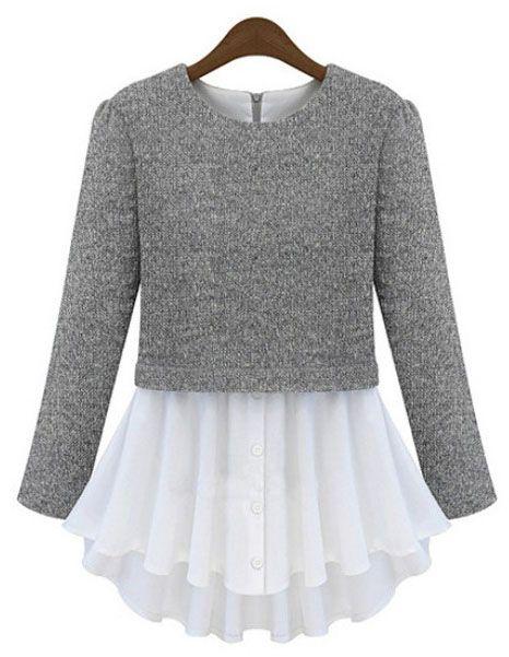 Camiseta combinada plisada manga larga-Gris
