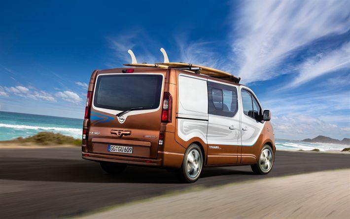 Descargar fondos de pantalla Opel Vivaro, 2017, microbuses, coches nuevos, coches para el viaje, verano, Opel