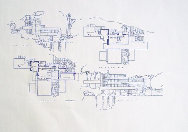 Frank Lloyd Wright Falling Water House Upper Floors Blueprint. $18.99, via Etsy.