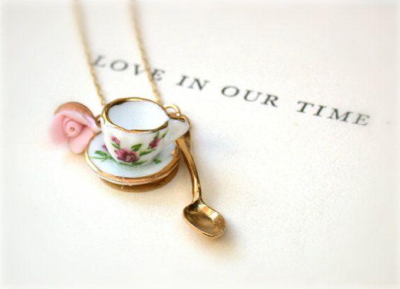My  Cup Of Tea - Handmade Porcelain Mini Tea Set  Necklace - For The Vintage Romance Lovers- A Piece Of Nostalgia.