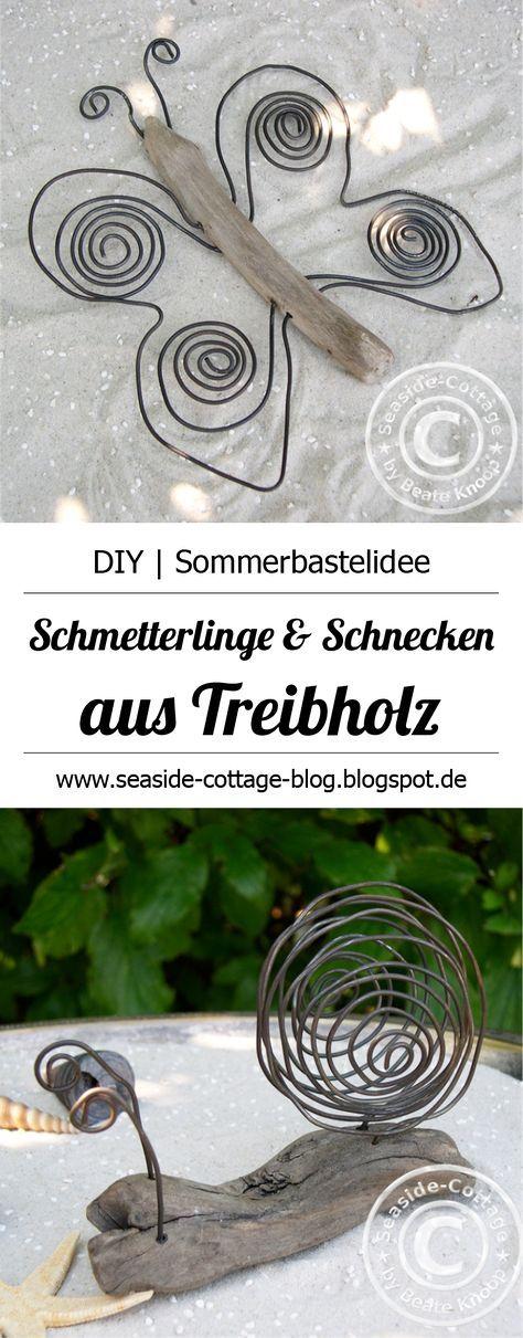 Eine weitere kreative Idee, was Du aus Treibholz basteln kannst:: Schnecken & Schmetterlinge