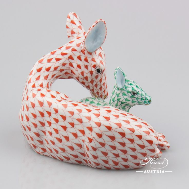 Deer with Fawn - Herend Animal Figurine 15620-0-00 VHR+VHV - Red and Green
