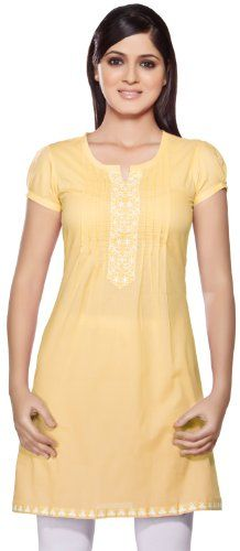 Rangmanch Womens Indian Ethnic Kurta Tunic Round Neck - Summer is incomplete without a white kurta is your closet and this kurta with an embroidered placket and hemline on the front will surely get you attention. The pintucks are feminine, classy and chic. Pair this with a pair of leggings in a contrasting colour and for a semi-formal evening occasion.
