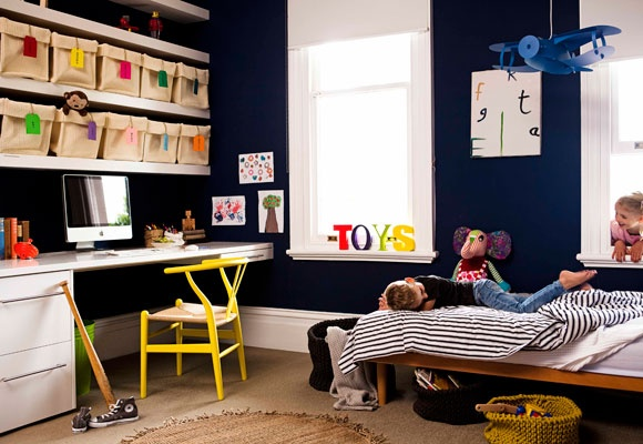 That wall colour- Real Living March 2012 Kids Rooms Sorted Storage Ideas (photography: chris warnes, styling: erin michael)