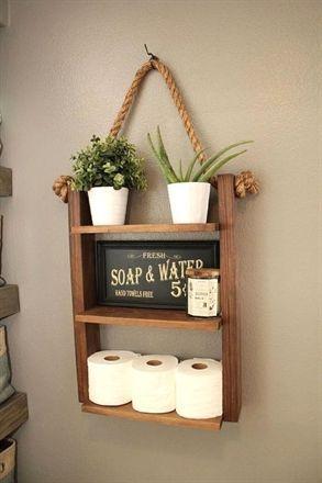 Bathroom Farmhouse Ladder Shelf, Brown Walnut Larg…