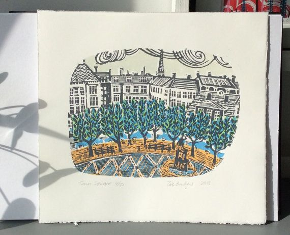 Town Square Linocut Print by Zebedeeprint on Etsy