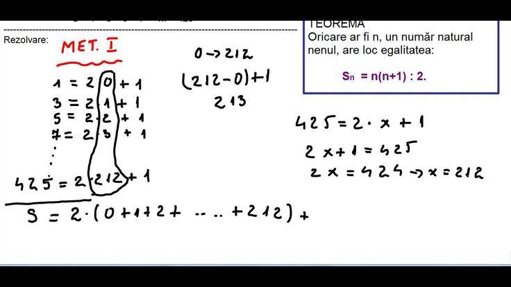 Clasa a V-a - Cap. Numere naturale - ex 2 - metoda 1 - 1 plus 3 plus 5 plus