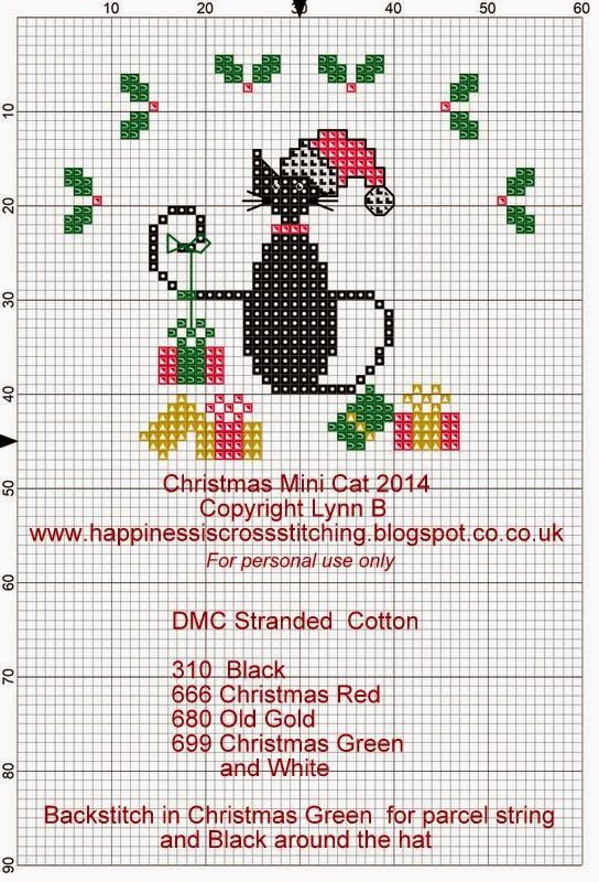 Happiness is Cross Stitching : Friday Freebie - Christmas Mini Cat for 2014