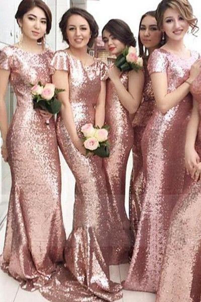 Rose Gold Long Mermaid Bridesmaid DressES With Sleeves,Sheath