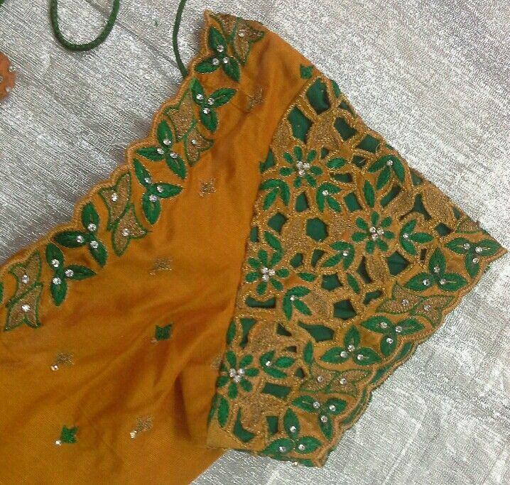 Pattu blouse with cut work design 7702919644