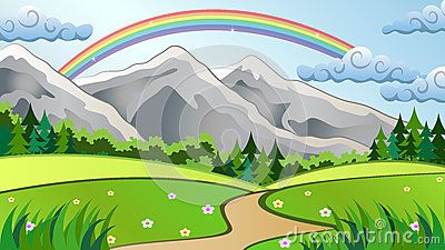 Mountain Landscape Vector Illustration with Meadow, trees, Rainbow and Clouds.