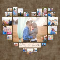 "4 Diferent Heart Photo Collage Template PSD. Valentine's day Gift. Gift for her. Instant download. Personalized digital copy 40"" x 40"""
