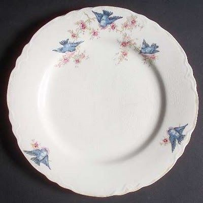 Vintage Homer Laughlin bluebird china dinner plate. Blue birds are my favorite and I collect Homer Laughlin. I have my grandmother's china from the '60s, and it's a pink floral pattern with a little lavendar and light green leaves. LOVE IT!!! I would LOVE to have this plate!!