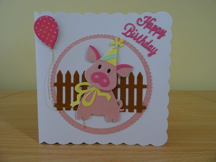 Handmade Birthday Card - Marianne Collectables Pig Die. For more of my cards please visit the CraftyCardStudio on Etsy.com.