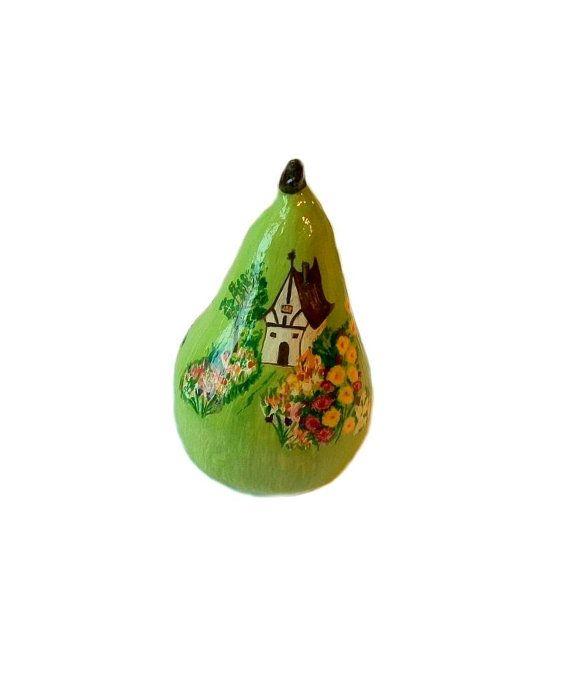 Green  Pear Home Décor Decorative Art Hand Made Hand Painted Paper Mache Sculpture