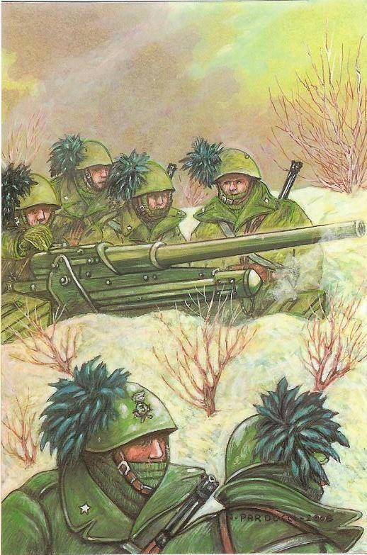Regio Esercito - Postazione del 3° Reggimento Bersaglieri in azione- Fronte Russo 1942 . L'originale è esposto in un Museo Militare di S.Pietroburgo (Russia)