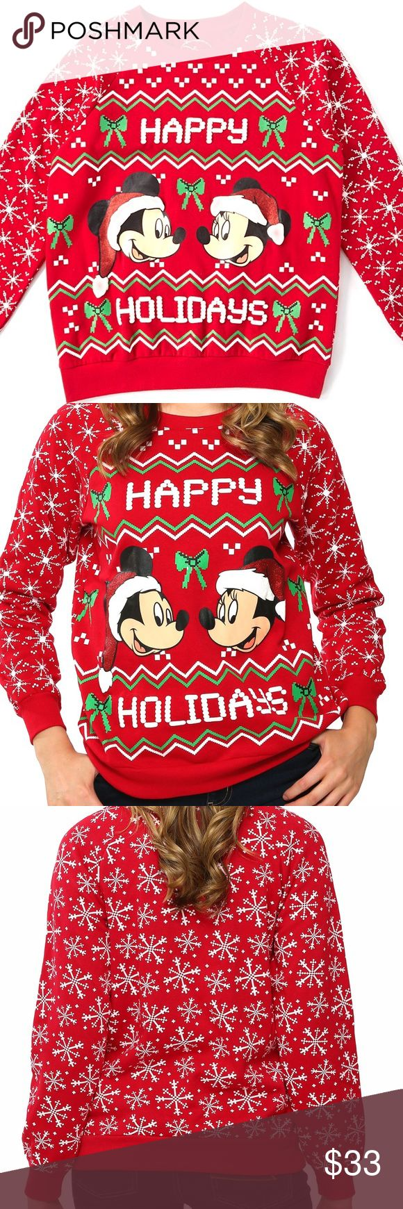 "Official Mickey Mouse Christmas Sweater holiday Mickey Mouse Christmas Sweater Holiday Sizes S M L XL SELLING VERY FAST! MY LAST 40 sold out! New batch of Sweaters just in! Just a few! These ones will sell out fast too so get your size now! I can't hold these. Make an offer but not too low because these will sell for full price.    NEW IN PACKAGE FROM BOUTIQUE   Win the ""Ugly Christmas Sweater"" Contest this year in this super cute Christmas Sweater  Mickey Mouse Authentic Disney Sweatshirt…"