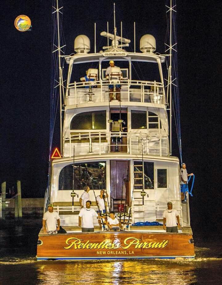 "Light 'em up! The 95-foot ""Relentless Pursuit"" Mississippi Gulf Coast Billfish Classic... ⚓By Diver969⚓"