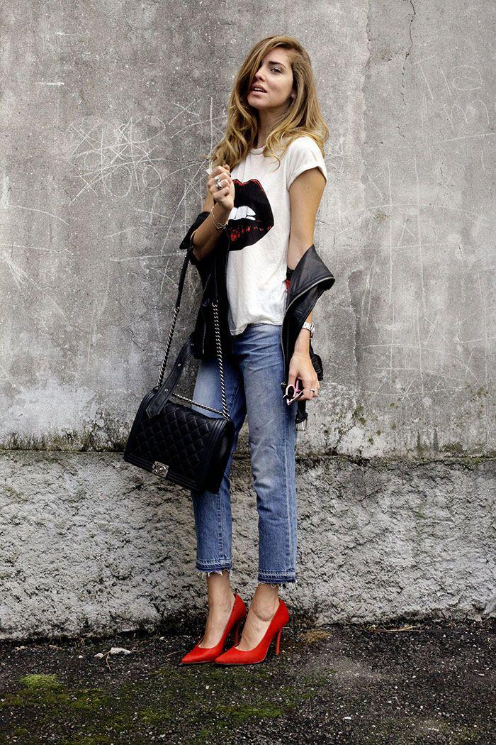 Keep it Casual: Chiara Ferragni does boy-fit right wearing the J BRAND Cropped Aidan in Santiago.