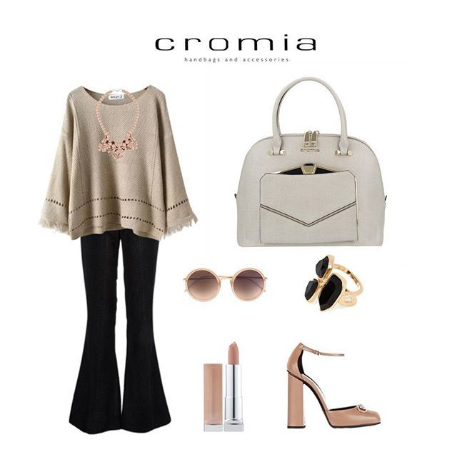 Wear the #Cromia Bettie handbag in beige with '60s pants, beige knitwear, platform shoes and rose nude accessories for a casual and romantic look!  #cromiabag #cromialovers #handbag #fashion #style #baglover #charme #trend #outfit #bag #instastyle #instafashion #bagoftheday #fashionblogger #iconic #citystyle #glamour