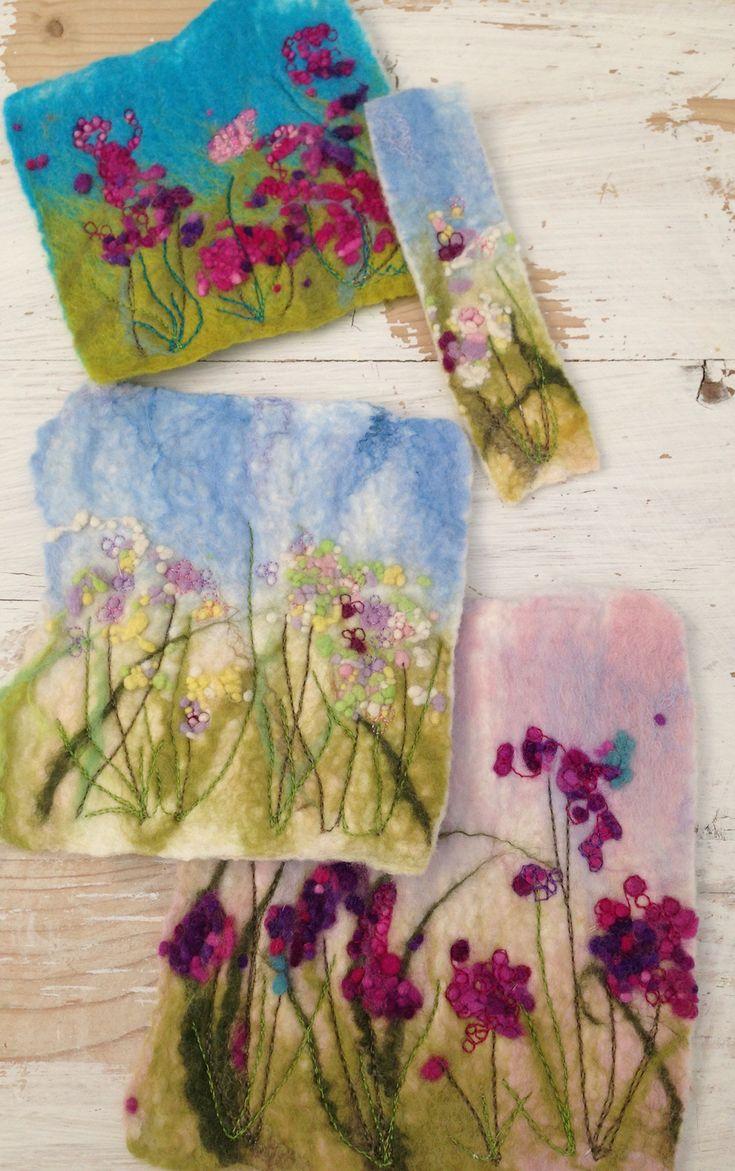 Wet felt - machine embroidery Nicola Overton Art Felt Colour