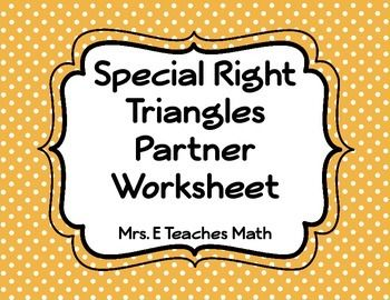 Multi Step Special Right Triangles Partner Worksheet Geometry
