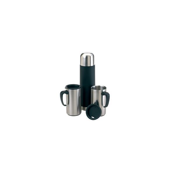 COD.TT020 Set Térmico. Termo con capacidad de 500 ml y 2 jarros con tapa con capacidad de 200 ml.