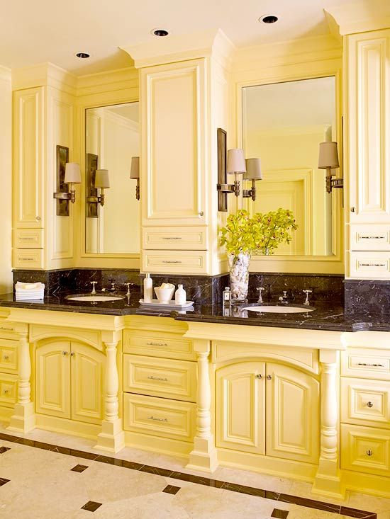 Double Vanity Design Ideas A Hotel Upper Cabinets And Pale Yellow Bathrooms