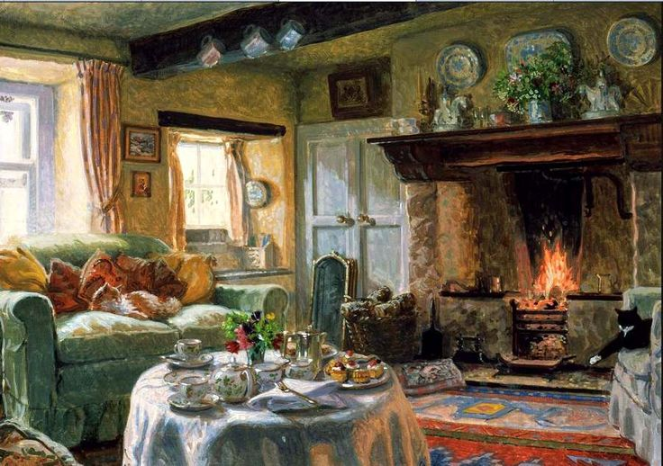 The cats have the best seats in this cosy cottage living room interior painting