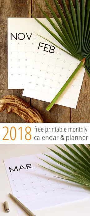 Free PDF download 2018 calendar and monthly planners in a gorgeous modern and minimal style! January 2018 through December 2018.