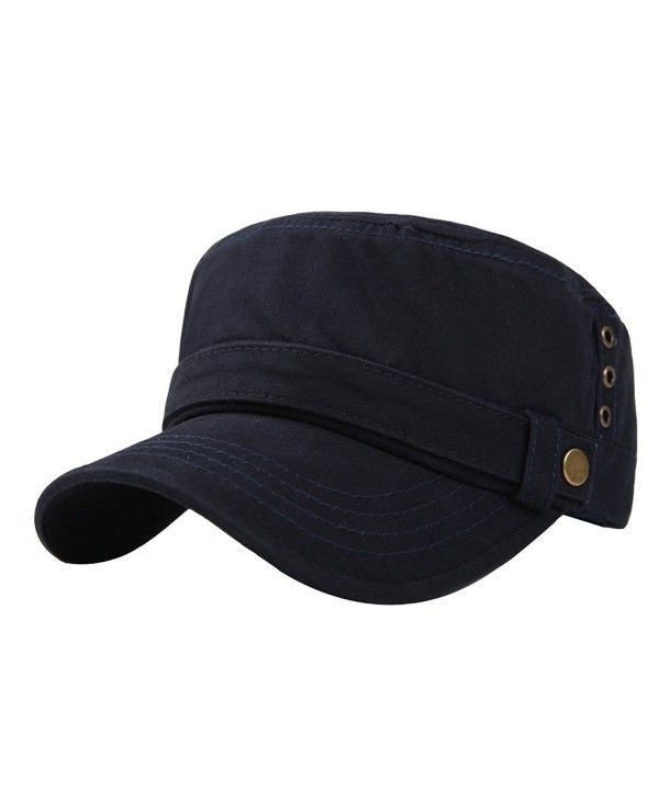 0cf814f575dde Men s Cotton Flat Top Peaked Baseball Twill Army Millitary Corps Hat Cap  Visor Navy-three