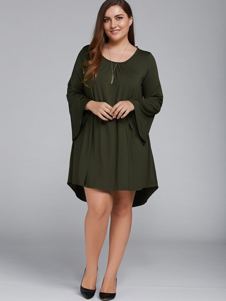 Plus Size Bell Sleeve Lace-Up Dress in Olive Green | Sammydress.com