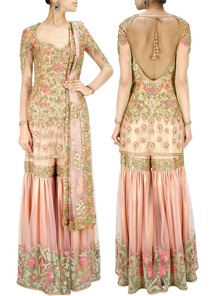 ASHIMA LEENA Powder pink and gold thread work sharara set