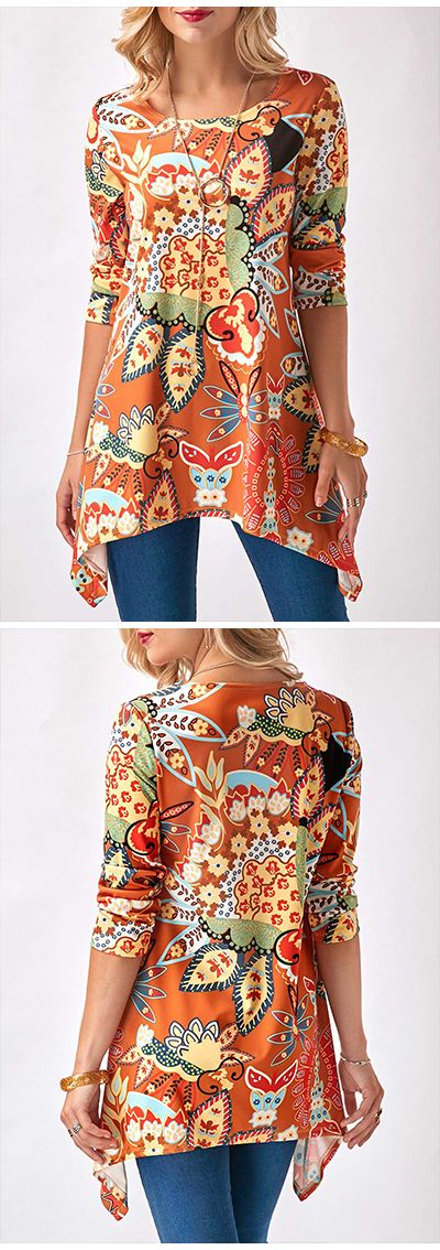 Sharkbite Hem Round Neck Printed Orange Blouseblouse, blouses, blouses for women, blouse outfits, blouse 2017, fall blouse, fall blouses, casual blouse, casual blouses, blouse over 50, blouses over 50, blouses for women over 50, winter blouse, winter blouses, blouses for women winter, blouses for women dressy, blouses for women chic, chic blouse, chic blouses, cute blouse, cute blouses, modest blouse, modest blouses, elegant blouse, elegant blouses, blouses for women casual, blouses outfits.