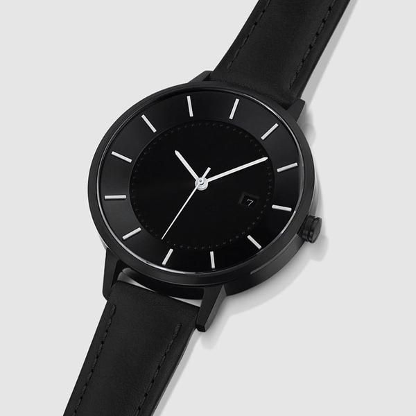 Black case and black strap. This LINJER timepiece has a Swiss quartz movement and sapphire crystal glass.