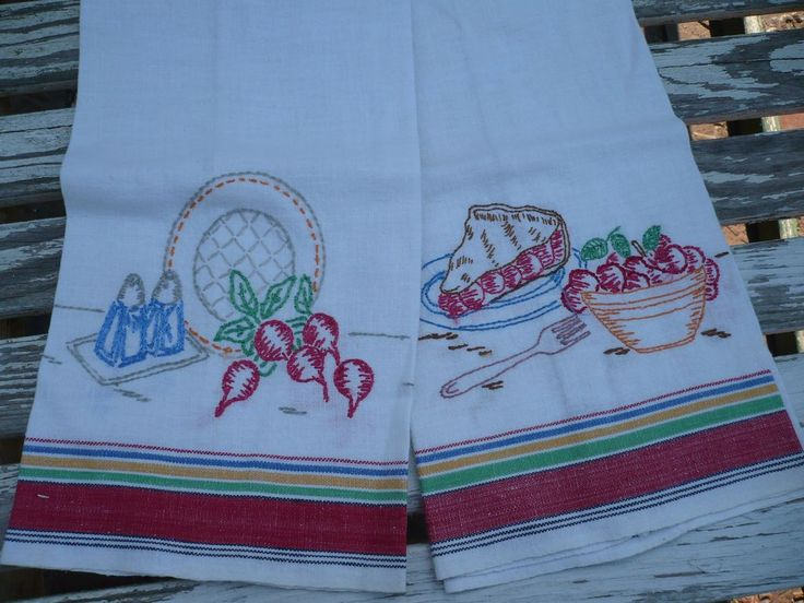 Pair Embroidered Dish Towels