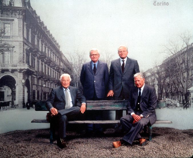Gianni Agnelli, Vittorio Chiusano, Giampiero Boniperti, and Umberto Agnelli
