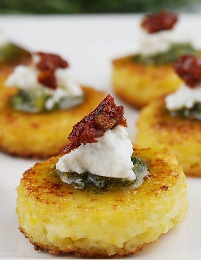 Sun-dried Tomato Polenta Bites are a colorful and incredibly tasty appetizer to serve at your next wedding shower. This simple, yet lovely, recipe is perfect for wowing  your guests!
