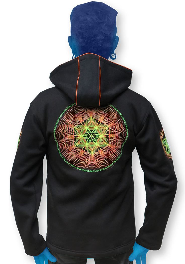 Versatile zip-up fleece jacket with a Round hood.   Sacred Fire print. Printed on the back & sleeves. Reflective logo badge and print on the chest.  UV piping.   2 Outside zip pockets & 2 inside zip pockets.   The hood is removable, so it is possible to wear the jacket with no hood, the pixie hood, or the round hood, which is available as an optional extra   Secret stash pocket label !   UV Activel !   Made from our super juicy durable fleece (Cotton/poly mix)