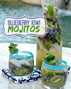 Blueberry Kiwi Mojitos Recipe (Alcoholic AND Non-AlcoholicVersions)