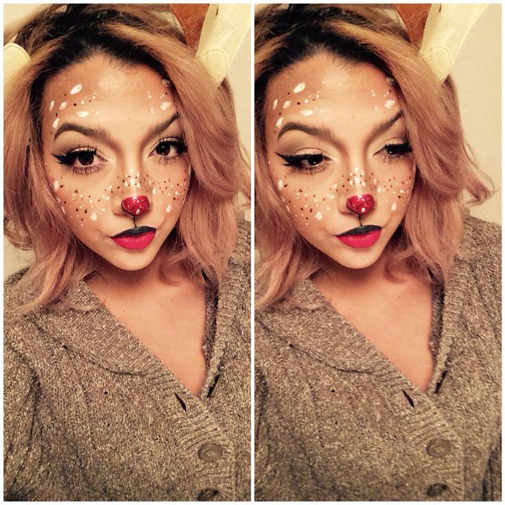 Christmas ️makeup , holiday makeup, rudolph , reindeer, deer. Fantasy .