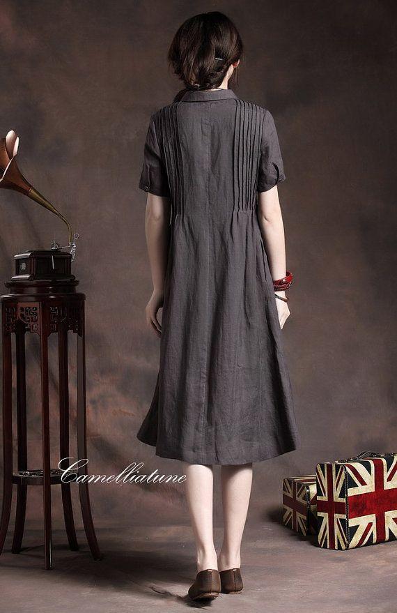 Linen Shirt Dress in Charcoal / Long Shift Dress by camelliatune
