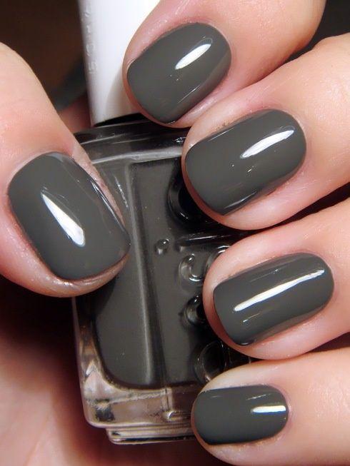 mani: Nails Art, Power Clutches, Nails Colors, Fall Nails, Polish Nails, Nailpolish, Essie Power, Gray Nails, Nails Polish