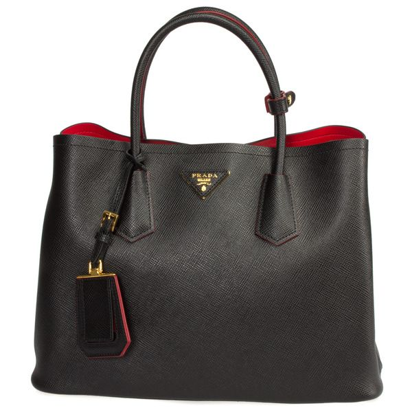 Elegantly constructed utilizing the finest materials and craftsmanship, this black Prada Double Bag Model 1BG775 is all class and charisma. This Saffiano Cuir leather tote is fashionably carried with