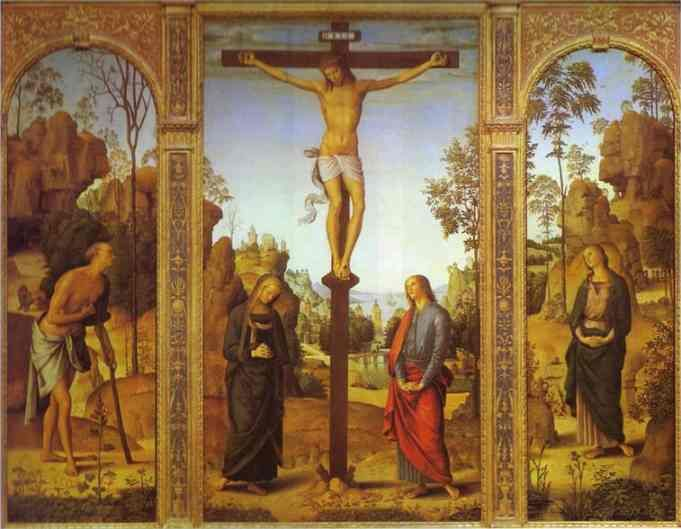 Pietro Perugino, The Crucifixion with the Virgin, St. John, St. Jerome and St. Mary Magdalene, 1485,  oil on canvas.