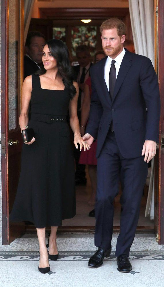d080d873e00 Duchess Meghan Markle summer Black Square Neck Midi Dress custom made celeb