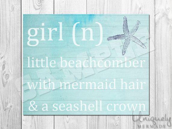Girl Mermaid Print - Nursery Art- Baby shower gift- Baby- Toddler- Nursery Decor- Room Decor- Printable Art- Download