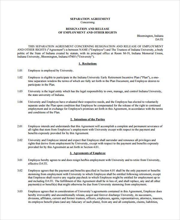 Employment Separation Agreement Template Sample Employment