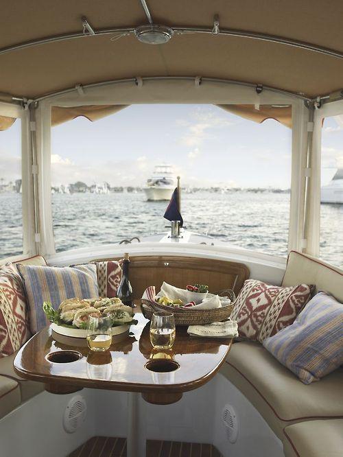 Breakfast on a boat.